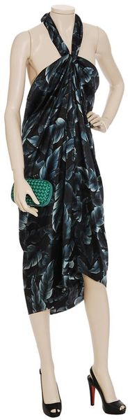 Lanvin Silk Halter Dress with Leaf-print - Lyst
