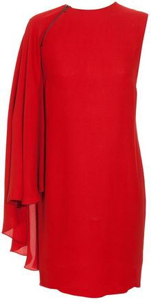 Lanvin Asymmetric Crepe Silk-blend Cape Dress - Lyst