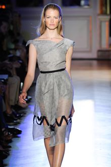Roland Mouret Spring 2012 Sheer Hourglass Dress With Ribbon Details In Light Grey - Lyst