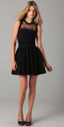 RED Valentino Sleeveless Knit Dress with Lace - Lyst
