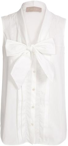 Jason Wu Stretch Cotton Blouse with Bow Collar - Lyst