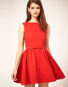 ASOS Collection Asos Skater Dress with Bow Front - Lyst