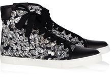 Lanvin Diamond-print Canvas and Leather High-top Sneakers - Lyst