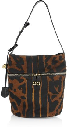 Alexander McQueen Padlock Printed Canvas and Leather Bucket Bag - Lyst