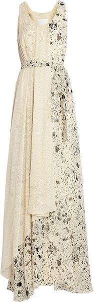 3.1 Phillip Lim Splatter Print Maxi Self Belt Gown - Lyst