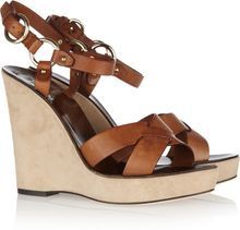 Bally Nymona Leather And Suede Wedge Sandals - Lyst