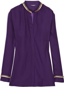 Balmain Metallic-Trim Washed-Silk Shirt - Lyst