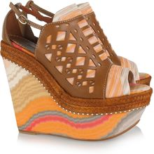 Missoni Leather and Crochet-knit Platform Sandals - Lyst