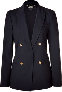 DKNY Black Double-breasted Wool Blazer - Lyst