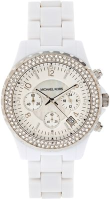 Michael Kors White and Diamante Face Chronograph Watch - Lyst