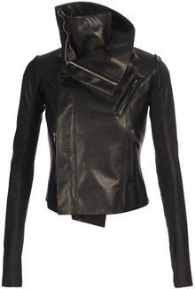 Rick Owens Combination Leather Biker Jacket - Lyst