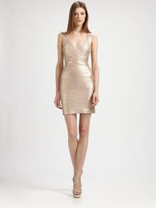 Hervé Léger Rose Gold Bandage Dress - Lyst