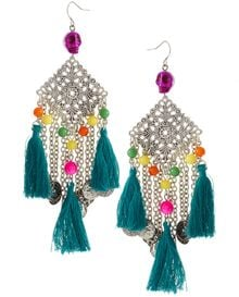 ASOS Collection Asos Skull and Fabric Tassel Chandelier Earrings - Lyst