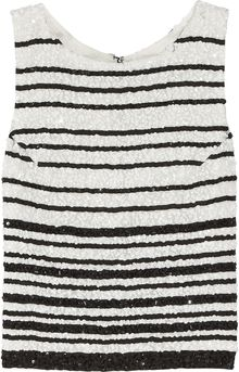 Alice + Olivia Adara Striped Sequined Silk Tank - Lyst