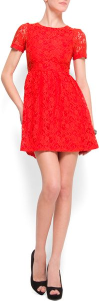Mango Aline Lace Dress - Lyst
