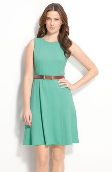 Calvin Klein Belted Dress with Flare Skirt - Lyst
