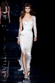 Versace Fall 2012 Asymmetrical Corset Gown With One Long Sleeve And Side Slit In White  - Lyst