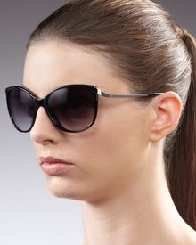 Diane Von Furstenberg Lindsay Cat-eye Sunglasses, Black - Lyst