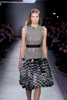 Giambattista Valli Fall 2012 Black & Beige Polka Dotted Dress WIth Cinched Waist & Fur Trimmings & Fur Skirt - Lyst