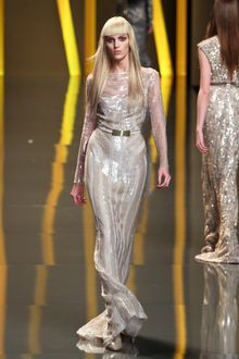 Elie Saab Fall 2012 Sheer Layered Paillette Embroidered Gown  - Lyst