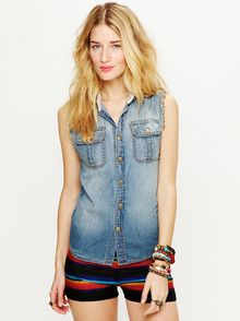Free People Sleeveless Denim Shirt - Lyst