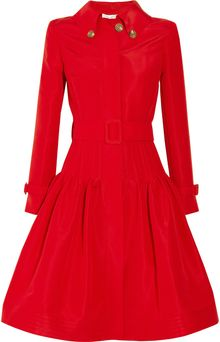 Oscar de la Renta Full Skirted Silk Faille Coat - Lyst