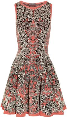 Alexander McQueen Flared Barnacle Intarsia Dress - Lyst