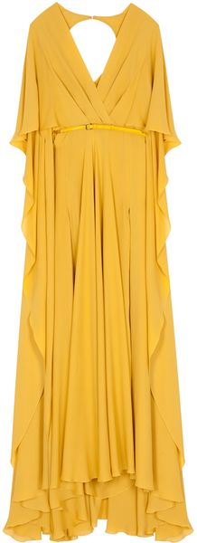 Elie Saab Silk Crep Ss W Slit Dress 14 - Lyst