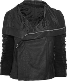 Rick Owens Textured Leather Biker Jacket - Lyst