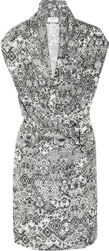 Saint Laurent Printed Silkhabotai Dress - Lyst