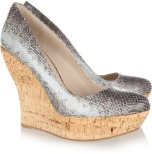 Miu Miu Snakeeffect Leather and Cork Wedges - Lyst