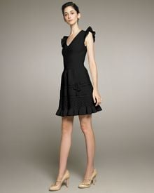 RED Valentino Vneck Crochet Dress with Bow - Lyst