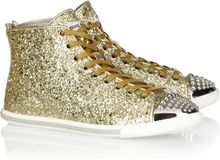 Miu Miu Glittered Leather Hightop Sneakers - Lyst