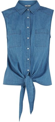 Oasis Oasis Denim Sleeveless Tie Front Shirt - Lyst
