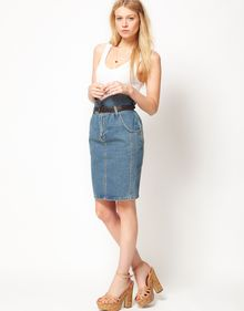 ASOS Collection  Denim Pencil Skirt with Paperbag Waist - Lyst