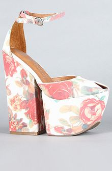 Jeffrey Campbell The 4 Evz Shoe in Ivory and Coral Floral - Lyst