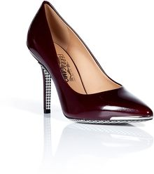 Ferragamo Oxblood Patent Leather Pumps - Lyst