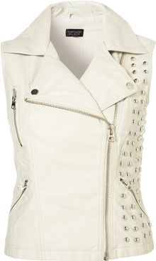 Topshop Sleeveless Studded Pu Biker Jacket - Lyst