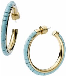 Michael Kors Gold Tone Turquoise Bead Hoop Earrings - Lyst