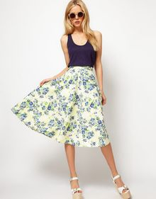 ASOS Collection Asos Midi Skirt in Floral Print - Lyst