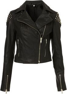 Topshop Skull Studded Leather Biker Jacket - Lyst