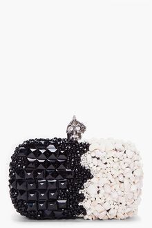 Alexander McQueen Black White Punk Shell Clutch - Lyst