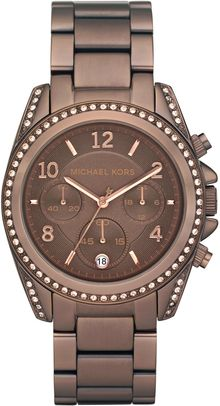 Michael Kors Brown Runway Watch with Glitz - Lyst