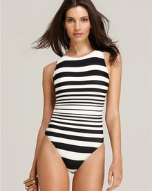 DKNY Striped Boat Neck Maillot - Lyst