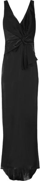 Badgley Mischka Gathered Satintwill Dress - Lyst