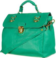 Topshop Large Leather Pushlock Satchel - Lyst