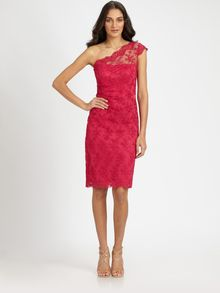 David Meister Asymmetrical Lace Dress - Lyst