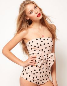 ASOS Collection Asos Bandeau Playsuit in Spot with Bow - Lyst