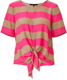 Tibi Magentasand Striped Knot Front Top - Lyst