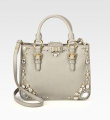 Miu Miu Madras Jeweled Satchel - Lyst